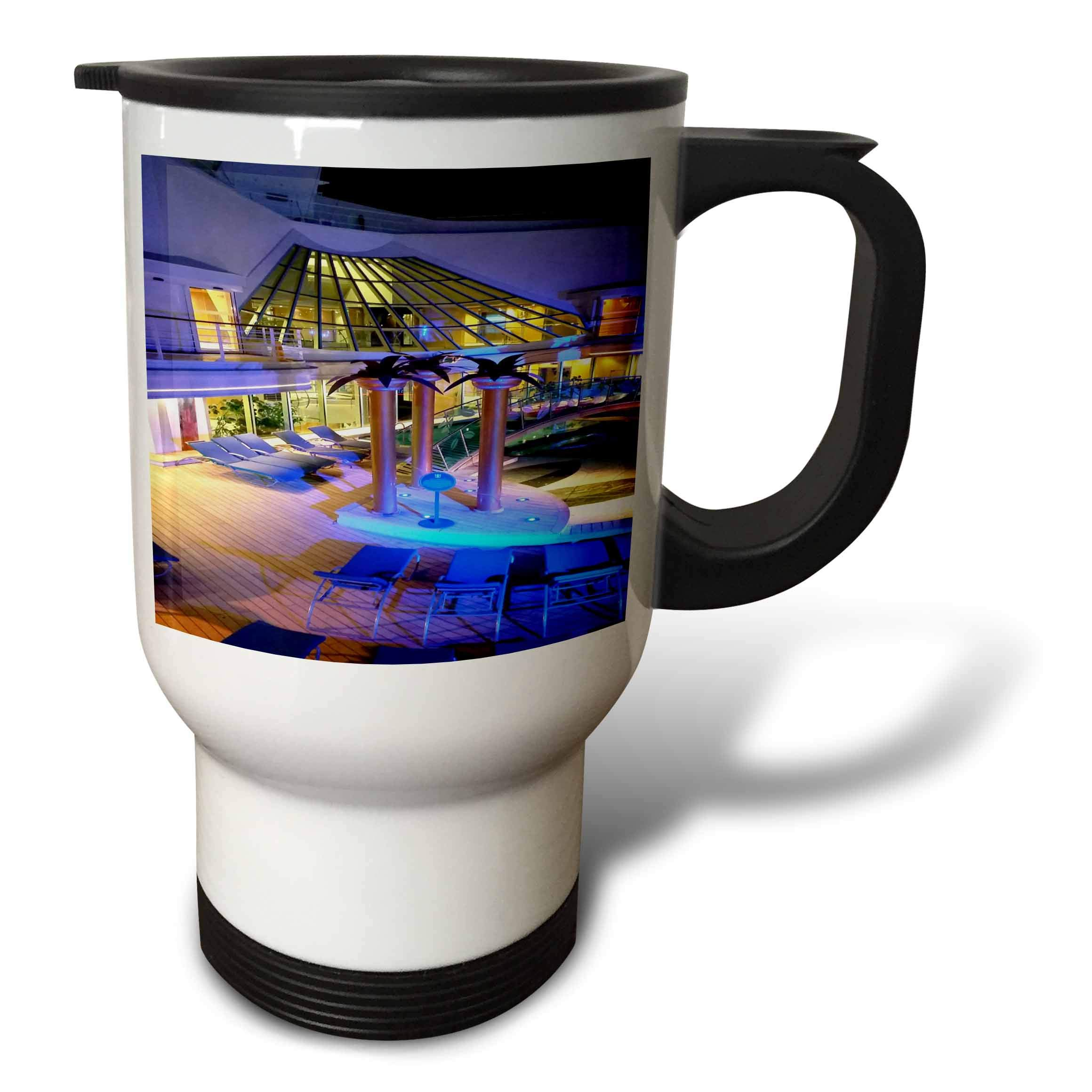 3dRose Lens Art by Florene - Cruise Ship Sites - Image of Adult Pool Area With Spa - 14oz Stainless Steel Travel Mug (tm_291436_1)