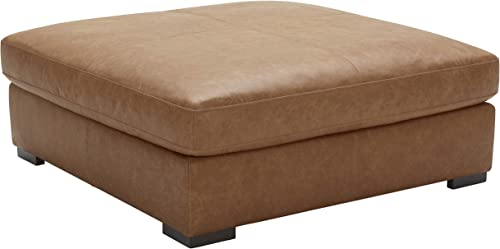 Amazon Brand Stone Beam Lauren Down Filled Oversized Leather Ottoman