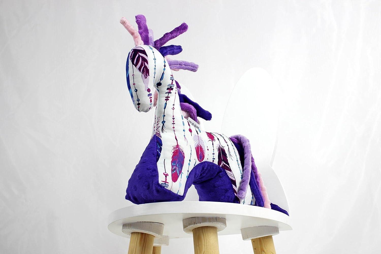 Purple Feathers Plush Horse Sensory Toy Infant Plush Toy Stuffed Horse