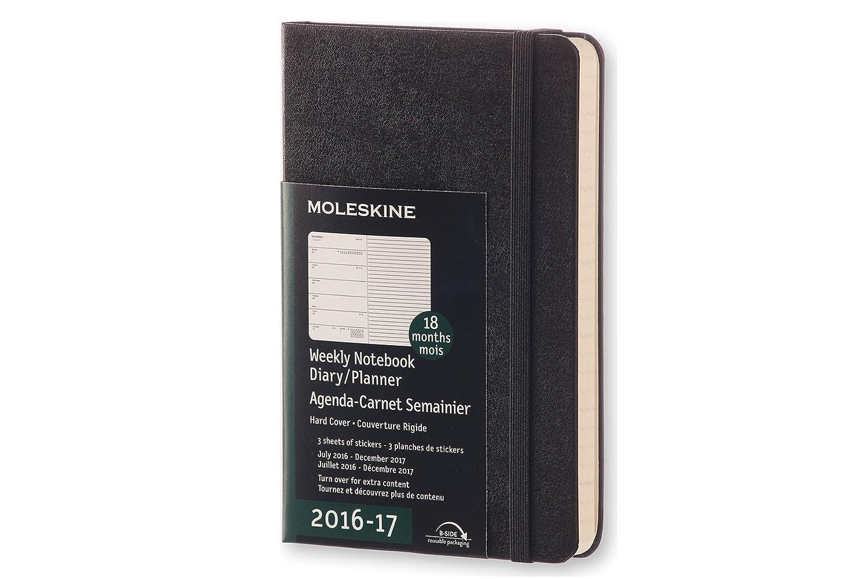 Moleskine DHB18WN2Y17 - Agenda semanal 18 meses, pocket 9 x 14, color negro