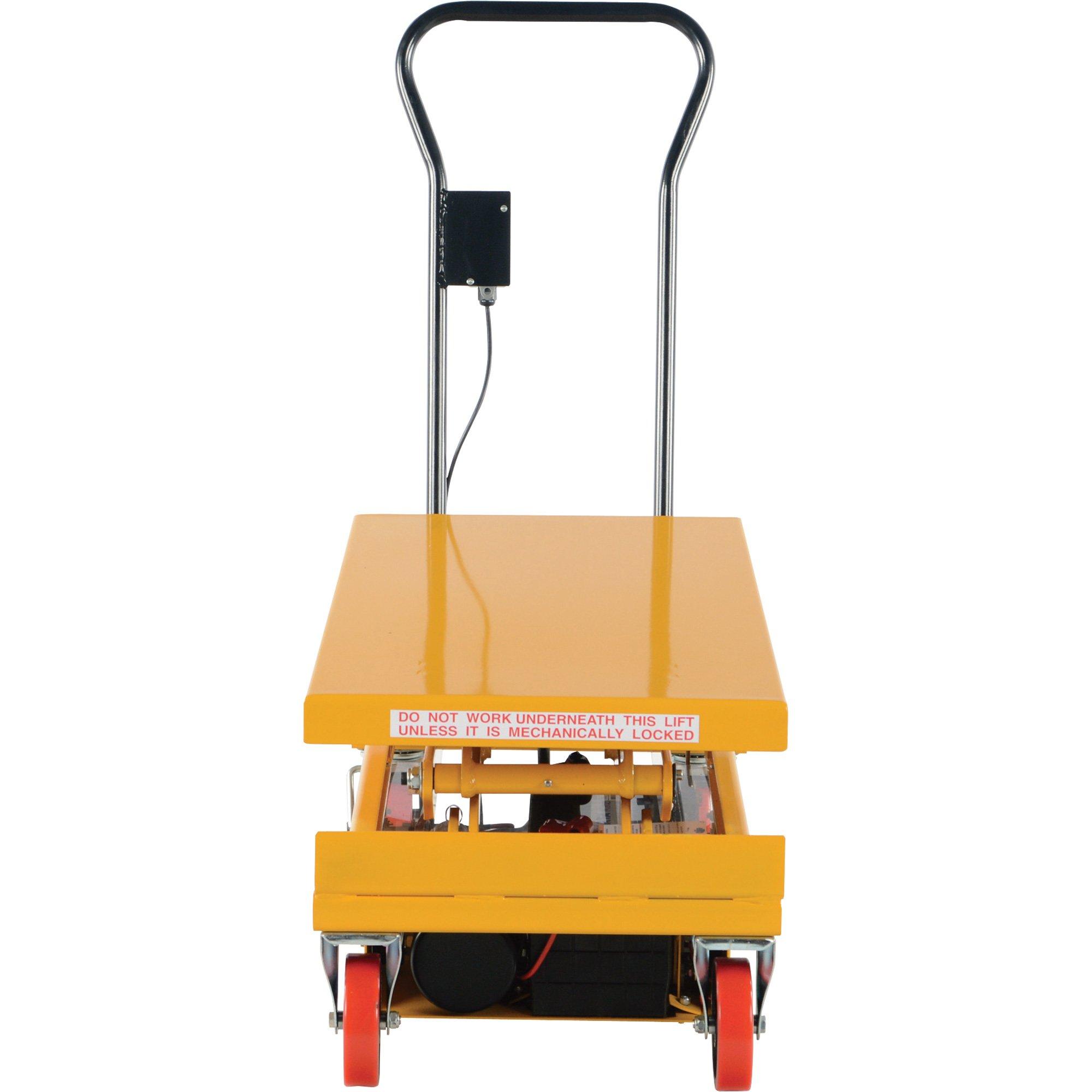 Vestil CART-1000D-DC Steel Double Scissor Cart, Hydraulic, 12V, 1000 lb. Capacity, 40'' x 24'' Platform, Height Range 19-1/2'' to 63-3/4'', Yellow