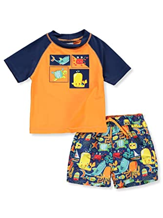 19d2a545f4d53 Kiko & Max Little Boys' Set with Short Sleeve Rashguard Swim Shirt, Sea  Creatures