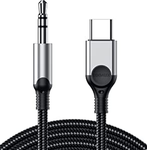 USB C to 3.5mm Audio Aux Jack Cable, ZOOAUX Type C Adapter to 3.5mm Headphone Car Stereo Aux Cord for iPad Pro 2018 Samsung Galaxy S21/S20 Ultra Note20 10+,Google Pixel 5 4 3 2XL,Oneplus-Grey