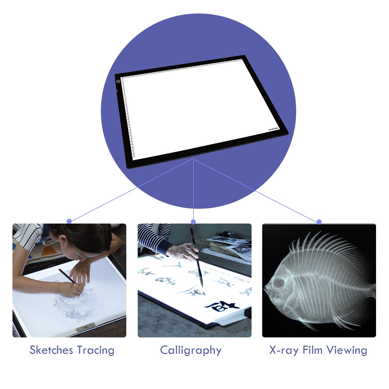 HUION A4 LED Tavoletta Luminosa Leggera Lavagnetta da Disegno Illuminazione Super Brillante con Illuminazione Regolabile per Animazione