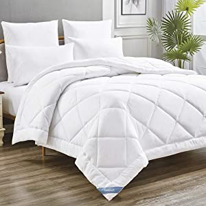 CozyLux White Down Alternative Comforter Queen Fluffy and Soft All Season Bed Comforter Quilted Duvet Insert with 300GSM Plush Microfiber Fill Corner Tabs Hypoallergenic and Machine Washable
