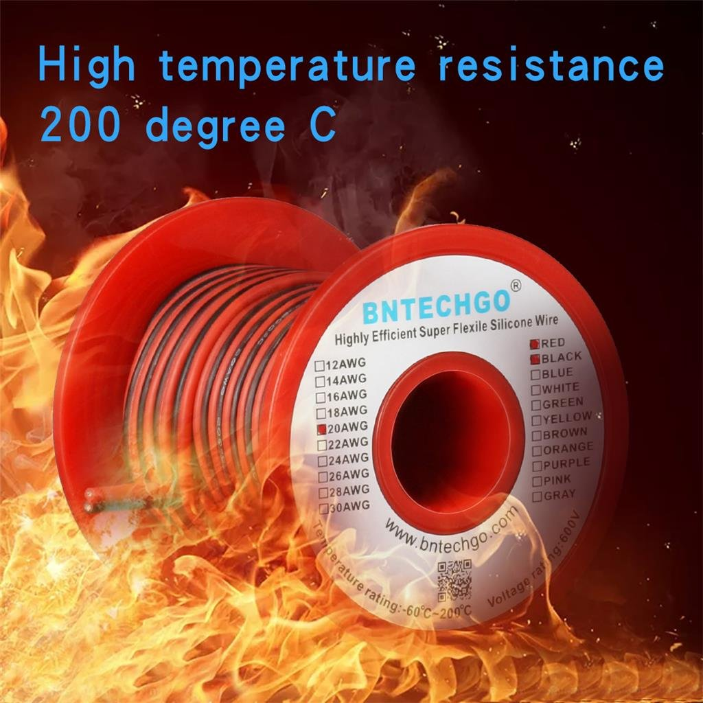 bntechgo 20 Gauge Flexible 2 Leiter Parallel Silikon Draht Spule rot ...