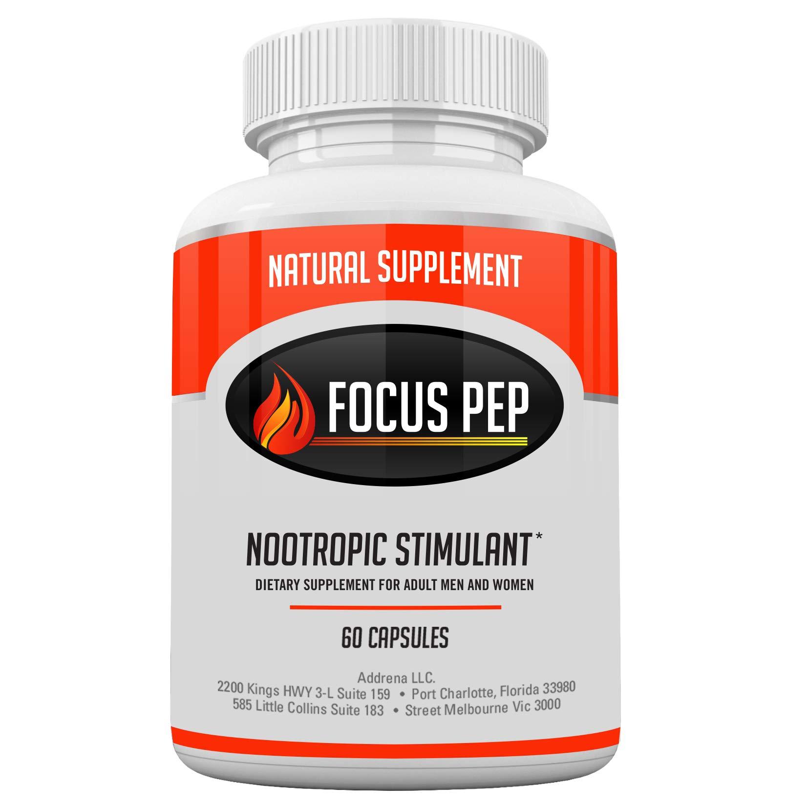 Addrena Focus Pep OTC Stimulants Brain Boosting Dietary Supplement, 1207 mg, 60 Pills