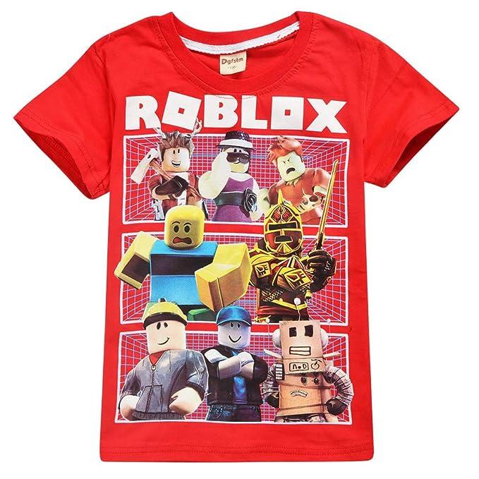 Roblox Camiseta Exquisitos Trajes de Vestir para niños Camisas de Manga Corta de Fibra de bambú elástica y elástica niños
