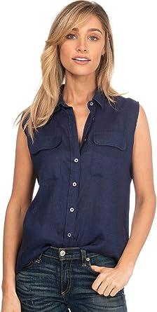 CAMIXA Camisa de Mujer Puro Lino Blusa de Manga Sisa y Bolsillos Top Sin Mangas: Amazon.es: Ropa y accesorios