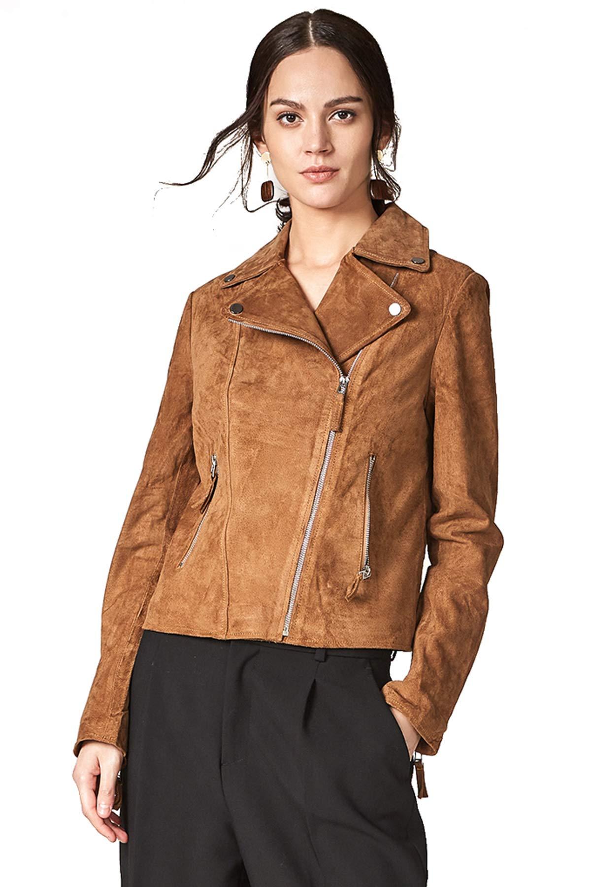 Escalier Women`s Genuine Leather Jacket Moto Biker Coat
