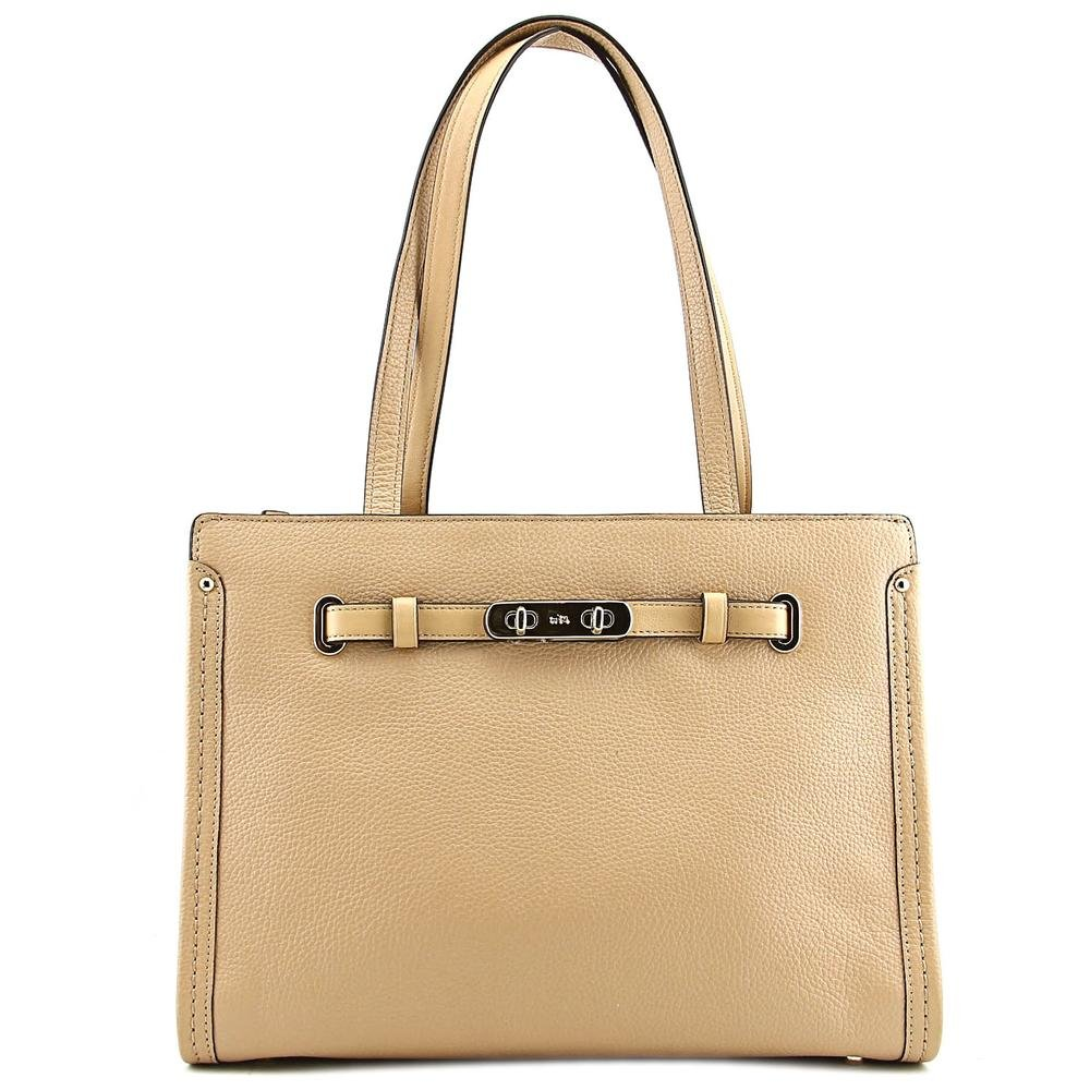 Coach Women's Polshd Pebble Leather Small Coach Swagger Tote Light/nude Satchel