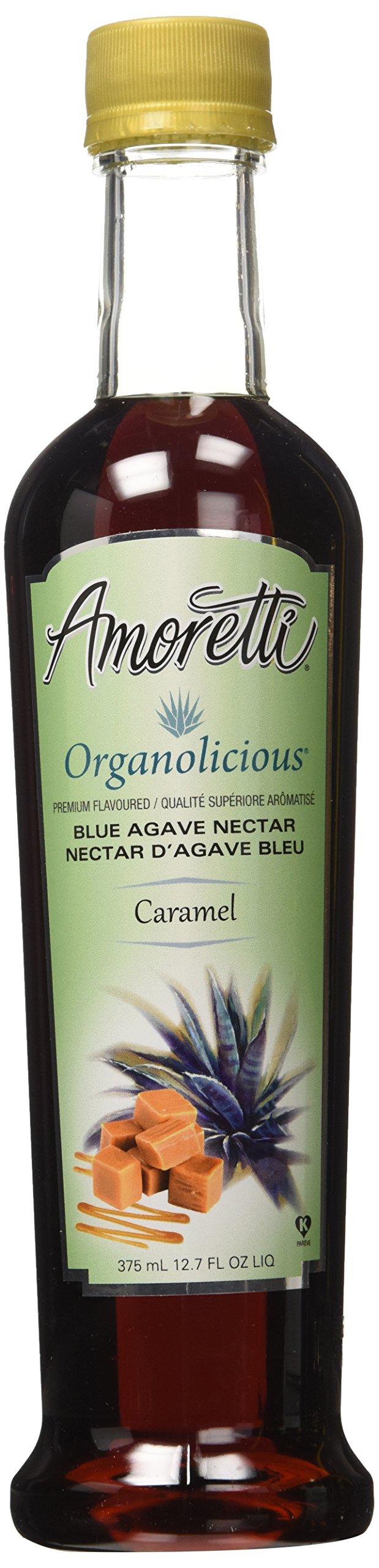 Amoretti Premium Organolicious Blue Agave Nectar, Caramel Flavored, 12.7 Fluid Ounce