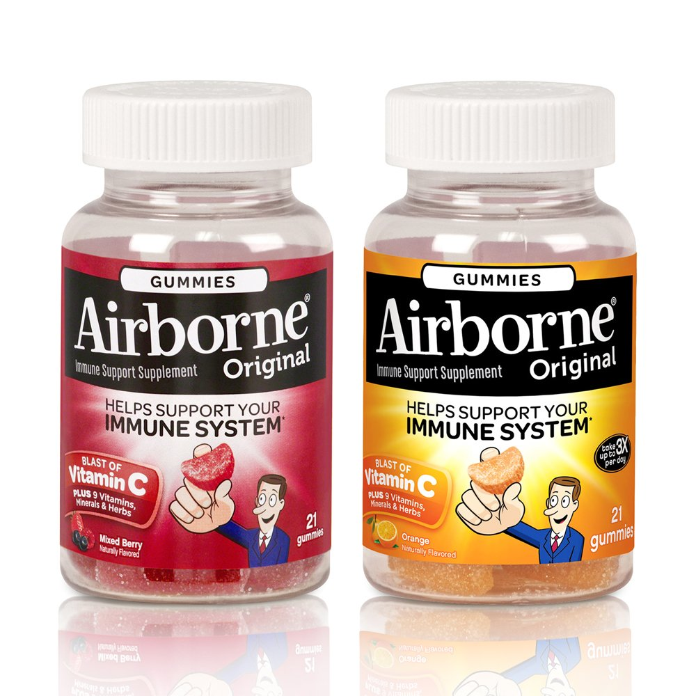 Airborne Immune Support Supplement Gummies, Mixed Berry 21 Ct & Orange 21 Ct, 1 ea by Airborne