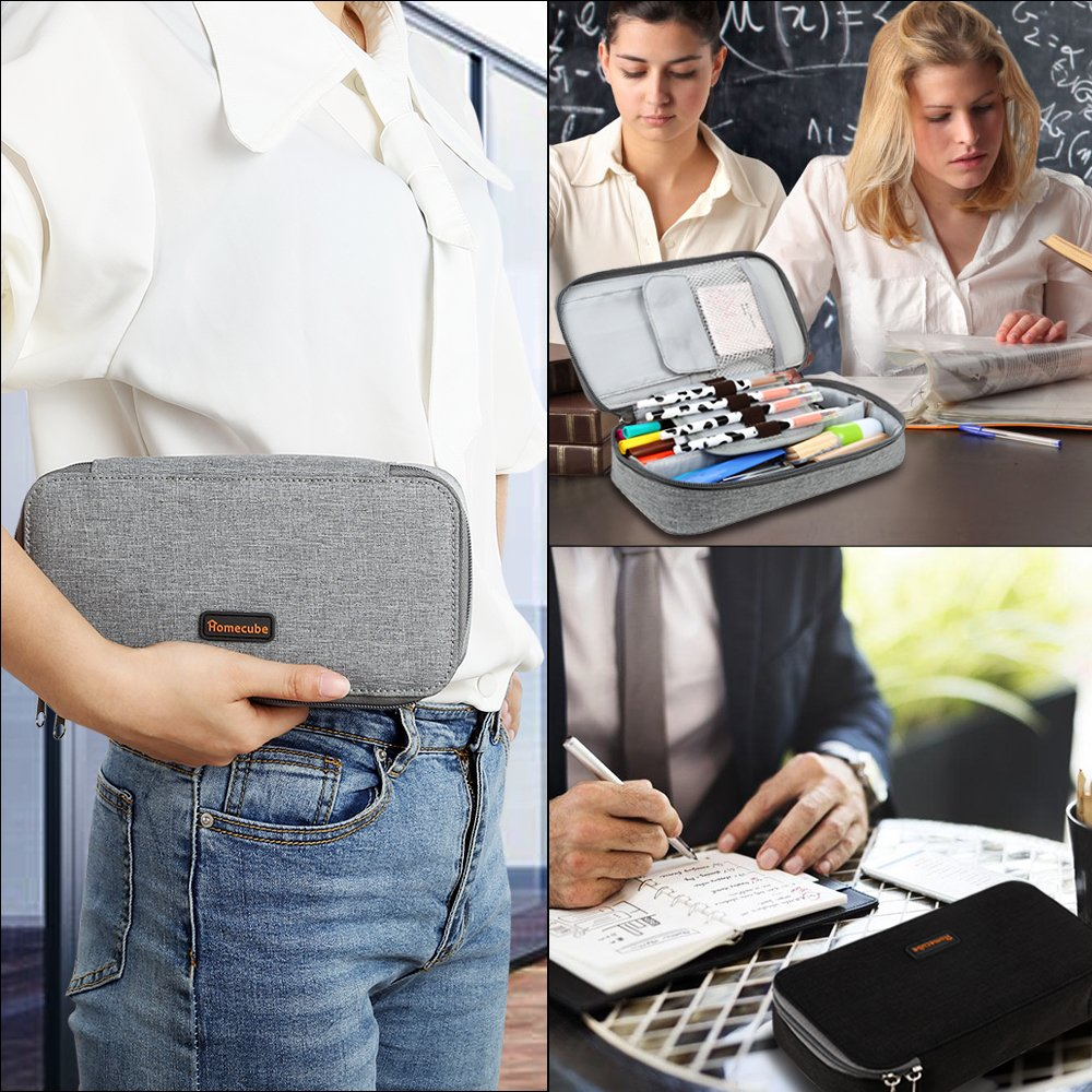 Homecube Pencil Case, Big Capacity Pen Case Desk Organizer with Zipper for School & Office Supplies - 8.74x4.3x2.17 inches, Gray by Homecube (Image #7)