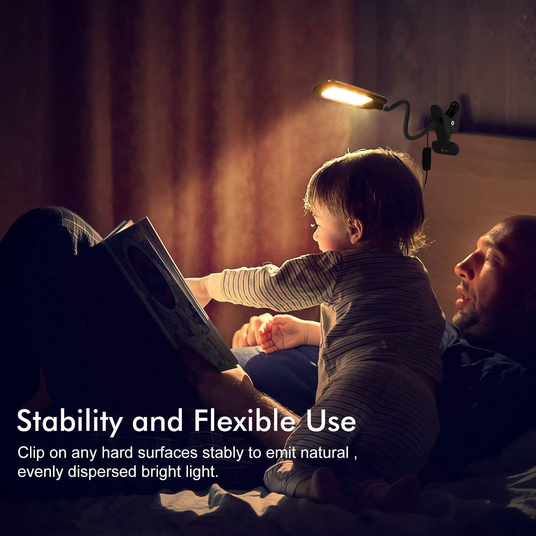 OxyLED 24 LED Lampe de bureau,/à clipser livre l/éger flexible Lampe de table,2 Niveau de luminosit/é et 3 Couleur de la lumi/ère,lampe de chevet pour lire,/étudier,travailler,chambre /à coucher,Blanc