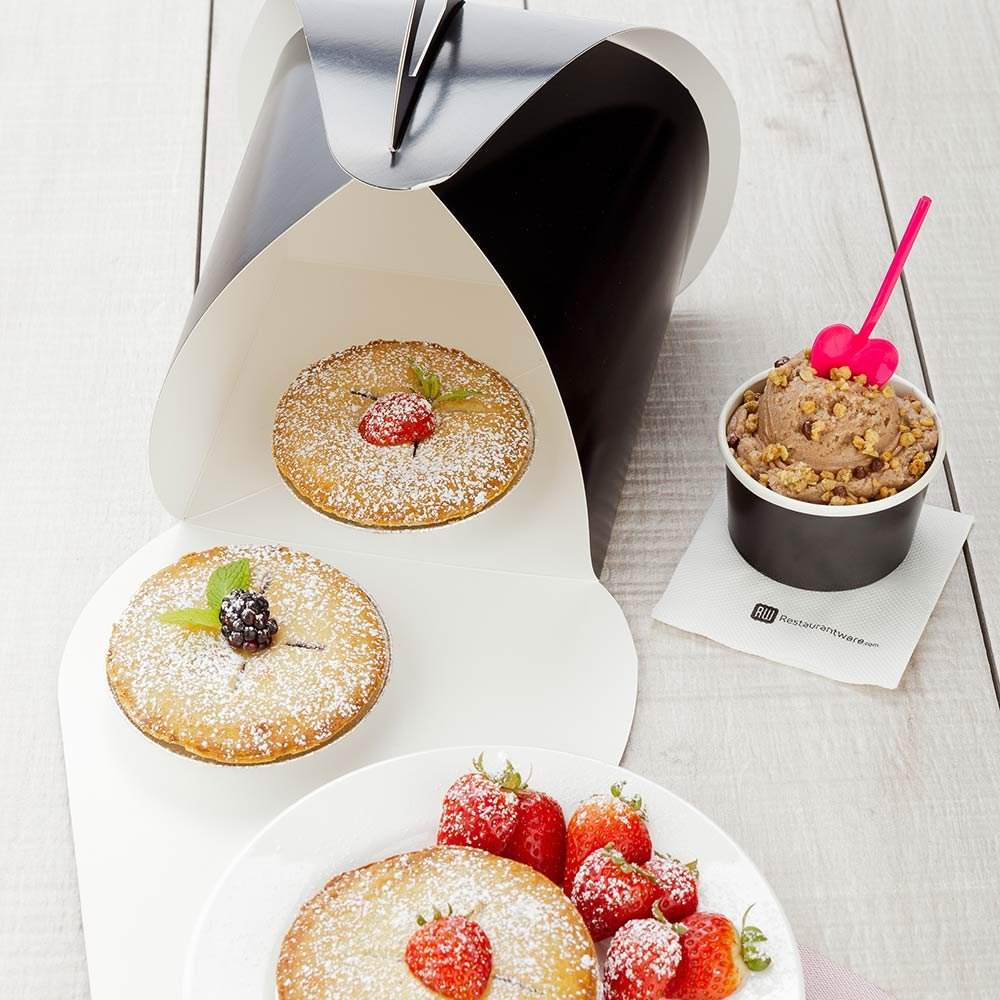 Pastry To Go Box, Cake To Go Box, Pie To Go Box with Handle - Lunch To Go Box - 6.5'' - Black - 100ct Box - Restaurantware by Restaurantware (Image #3)
