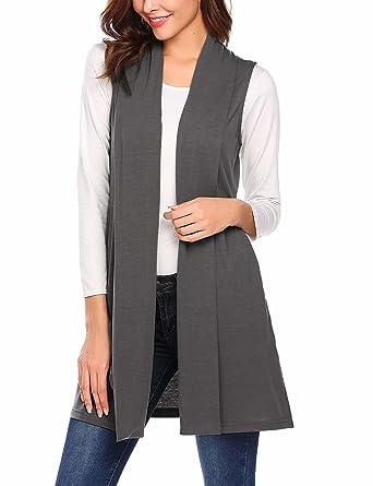 pretty nice 80d28 99c28 MAXMODA Strickjacke Damen Ärmellos Lang Weste Mantel Jacke mit Seitentasche  für Sommer und Herbst