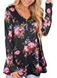 Ranphee Womens Long Sleeve Henley T Shirts Fall Cotton Plus Size Tunic Tops