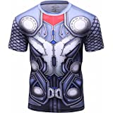 Red Plume Men's Superhero Shirt Sports Fitness T-Shirt Party/Role Play Short Sleeve