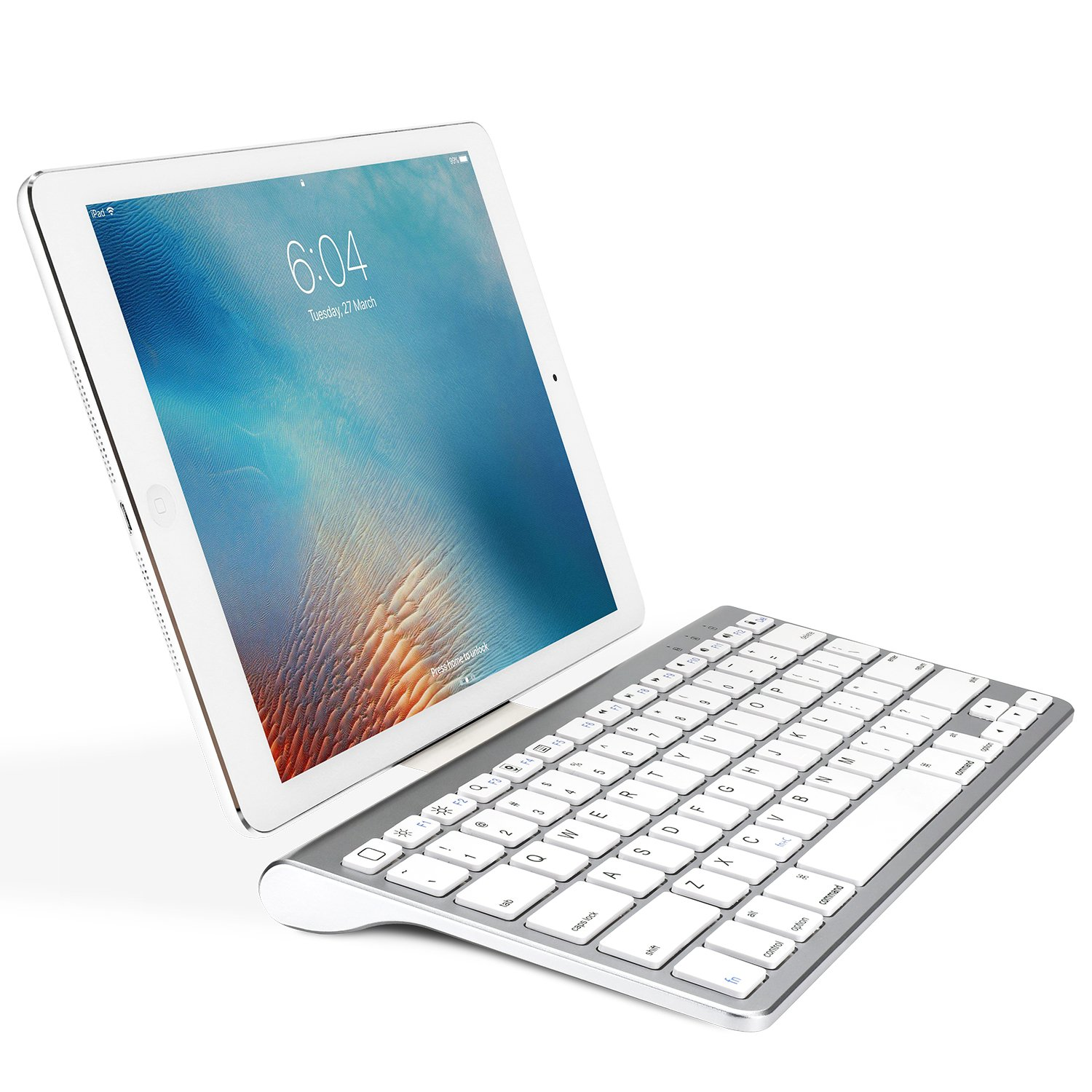 OMOTON Ultra-Slim Bluetooth Keyboard with Sliding Stand for New iPad 2018, iPad 2017, iPad Pro, iPad Mini 4/3/2/1, iPad 4/3/2, iPhone 8/8 Plus, iPhone X and Other Bluetooth Enabled Devices, White