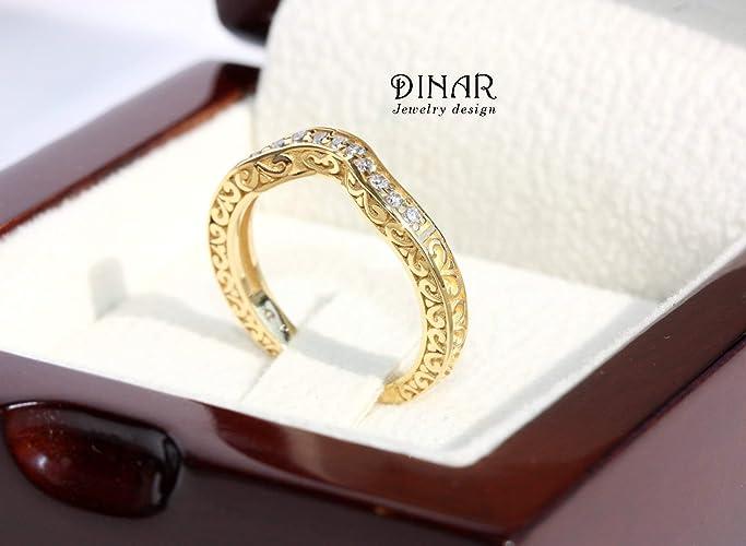 Amazon Com Curved Contour Diamonds Matching Wedding Ring Art Deco