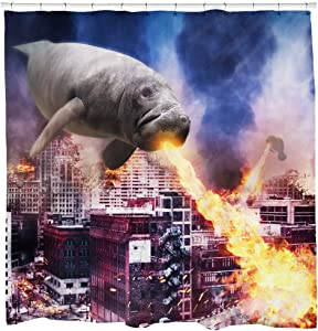 Sharp Shirter Cool Manatees Shower Curtain Set Funny Bathroom Decor Animals Shooting Fire Polyester Fabric 71x74 Hooks Included