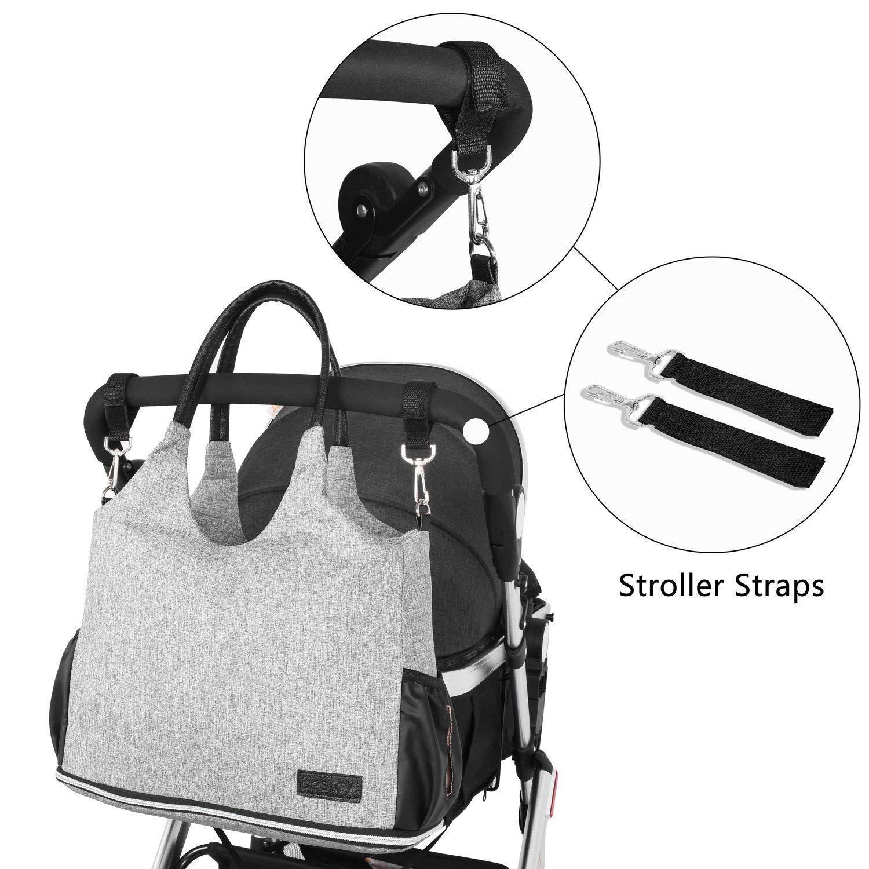 Besrey Mutter Wickeltaschen Babytasche Wickeltasche Handtasche Windelbeutel mit 2 Kinderwagen-haken und warmer Tasche grau Babytasche Gro/ße Kapazit/ät