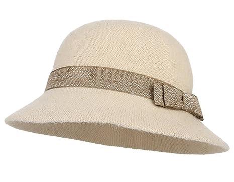 4681a10ee GEMVIE Chapeau Femme Cloche Bonnet Hiver Chapeau Bob Nœud Papillon Vintage  Réglable Taille 57cm Beige
