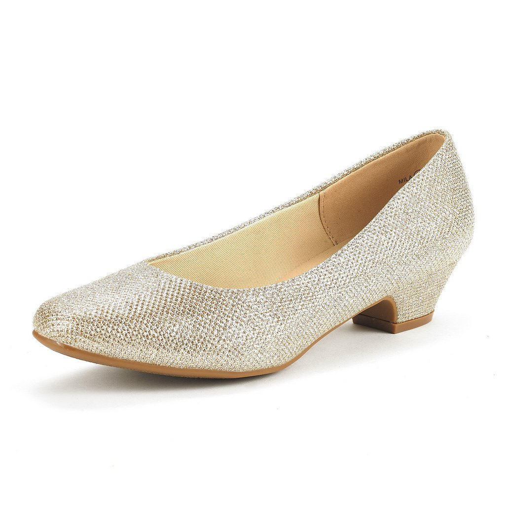 DREAM PAIRS Women's Mila Gold Glitter Low Chunky Heel Pump Shoes Size 8 M US