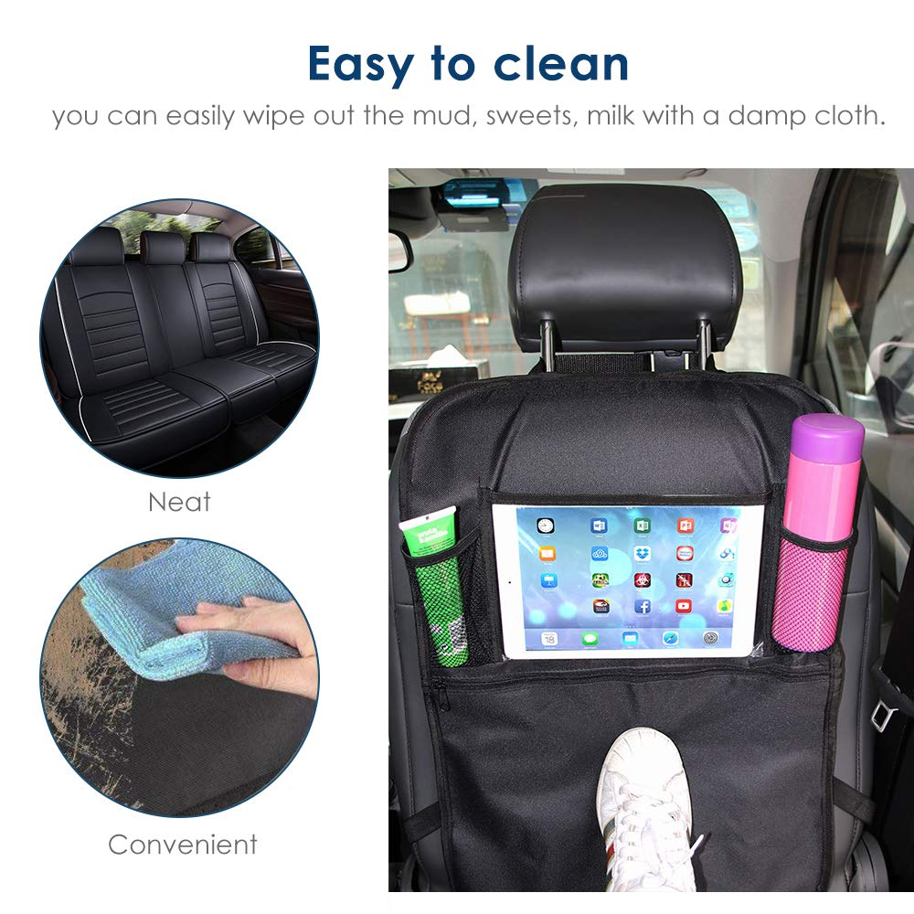 Car Seat Back Protectors 2 Pack Simpeak Car Kick Mats Waterproof Backseat Organizer with Multi-Pockets and Clear 10 Tablets Holder for Great Storage 5559021063