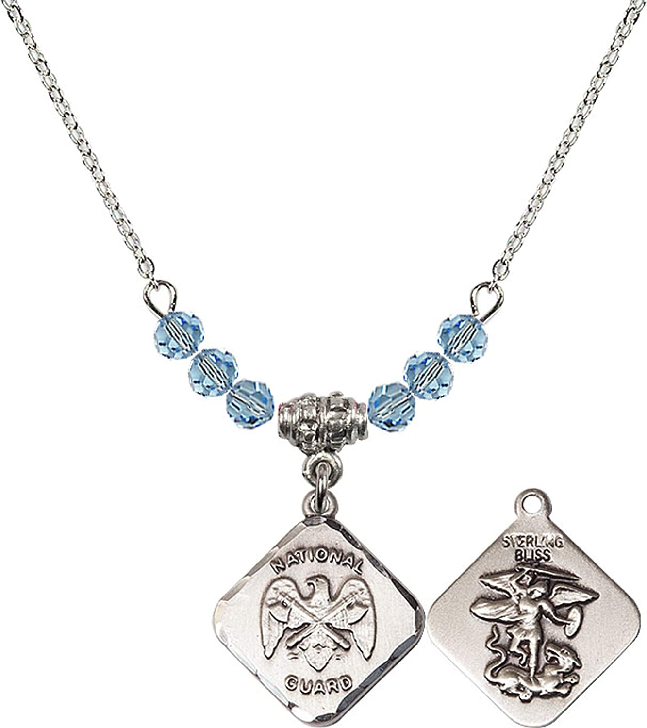 Bonyak Jewelry 18 Inch Rhodium Plated Necklace w// 4mm Blue March Birth Month Stone Beads and Natl Guard Diamond Charm