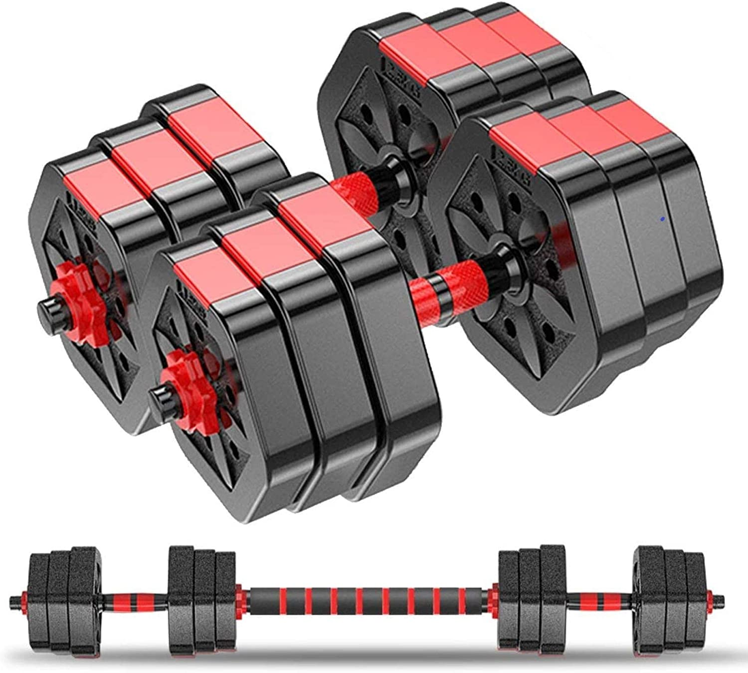 Weights Dumbbells Set – Pair of 44 Lbs Adjustable Hands Dumbbells for Home Gym – Ultimate Two in One Exercise Equipment – Improve Resistance, Muscle Mass, Stamina and Endurance,Perfect for Home Gym