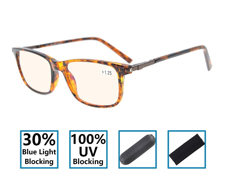 Blue Light Blocking Glasses for Reading Gr8Sight Reduce Eyestrain Anti Glare UV Protection Spring Hinges Computer Reading Glasses Specs Men/Women Amber Tinted Lenses Tortoise +1.25