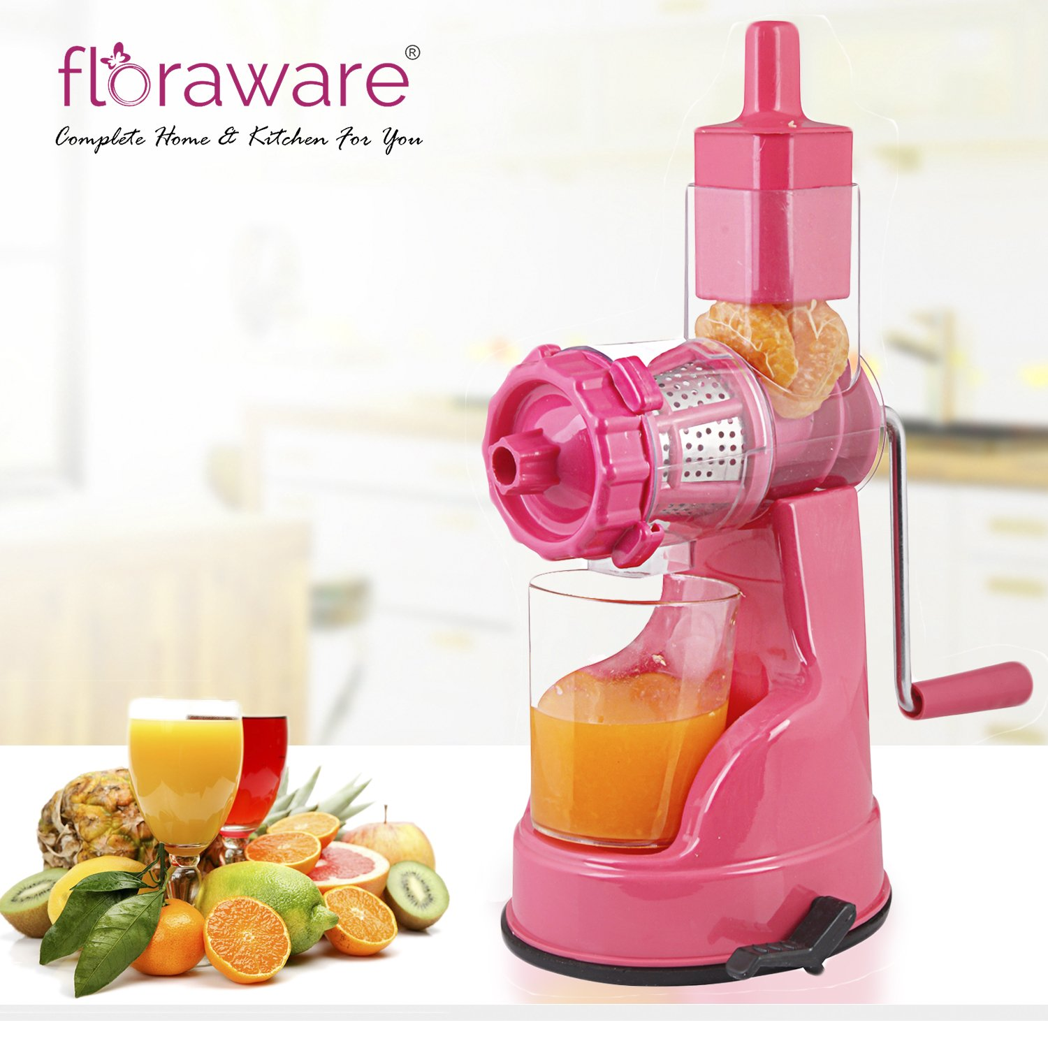 Floraware Fruit & Vegetable Steel Handle Juicer with Vaccum Locking System