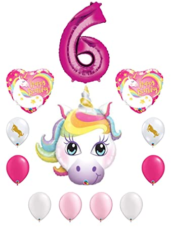 Amazon Rainbow Unicorn 6th Birthday Party Decoration Balloon Bundle For 6 Year Old Includes 12 Balloons Toys Games