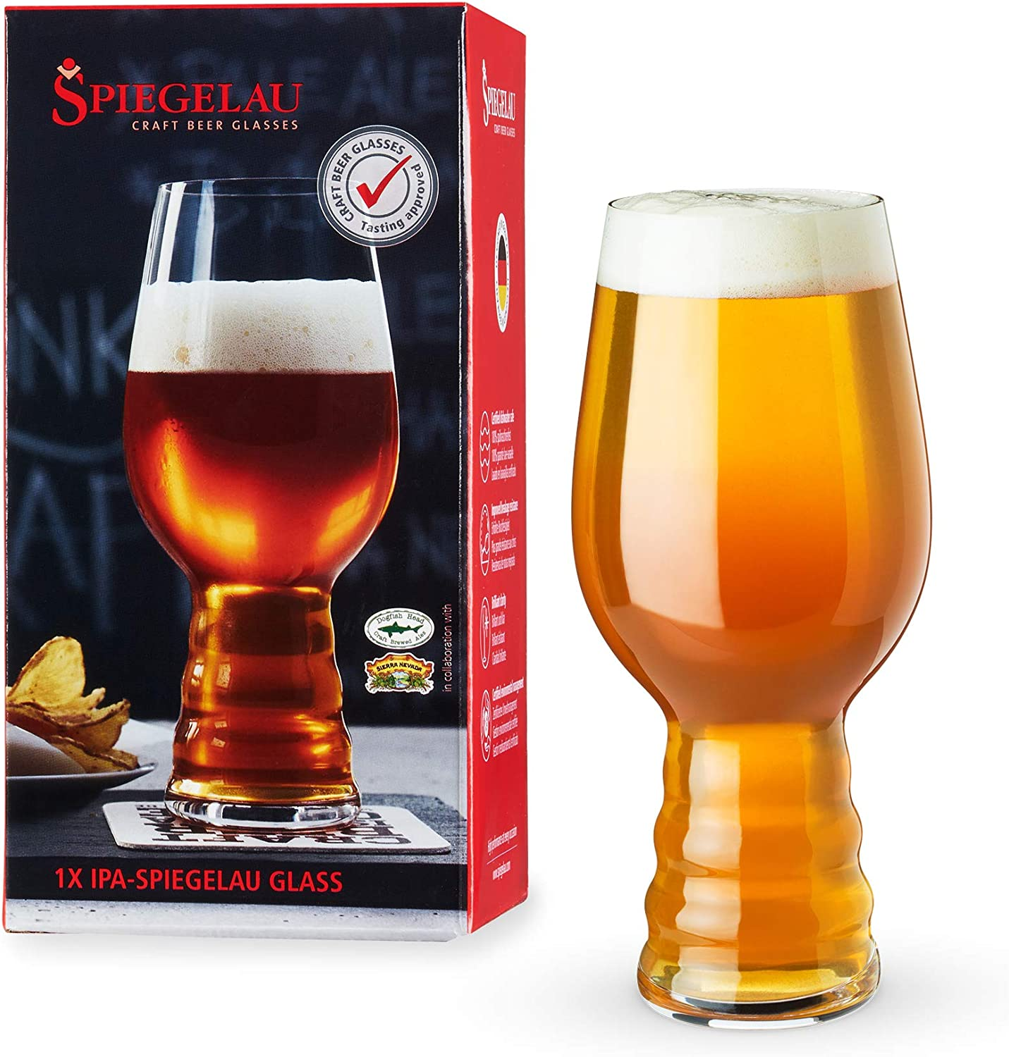 Amazon Com Spiegelau Craft Beer Ipa Glass Set Of 1 European Made Lead Free Crystal Modern Beer Glasses Dishwasher Safe Professional Quality Beer Pint Glass Gift Set 19 1 Oz Kitchen Dining