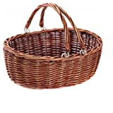 Kingwillow, Wicker Picnic Basket Hamper with double folding handles, Oval storage basket with handles. (Large, Brown)