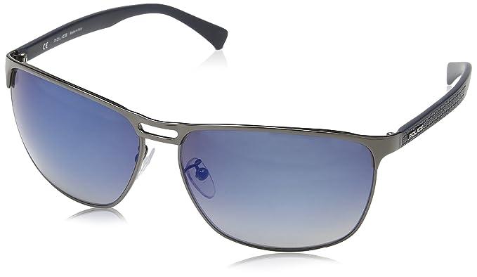 Police Herren Sonnenbrille S8963, Blau (Shiny Gunmetal), Einheitsgröße