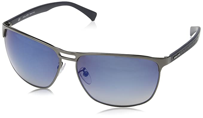 Police S8963, Gafas de Sol para Hombre, Azul (Shiny Gunmetal ...