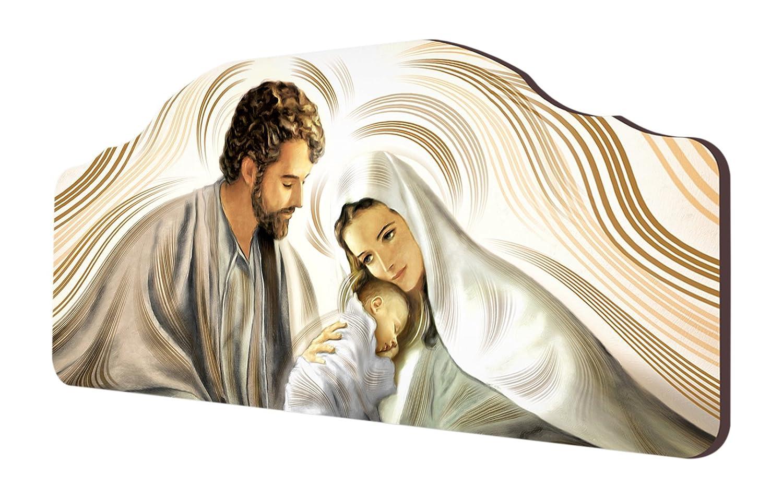 Lupia Quadro Capezzale sacro Nativity Brown su Tavola Lavorata, 42x92 cm 8016123062797