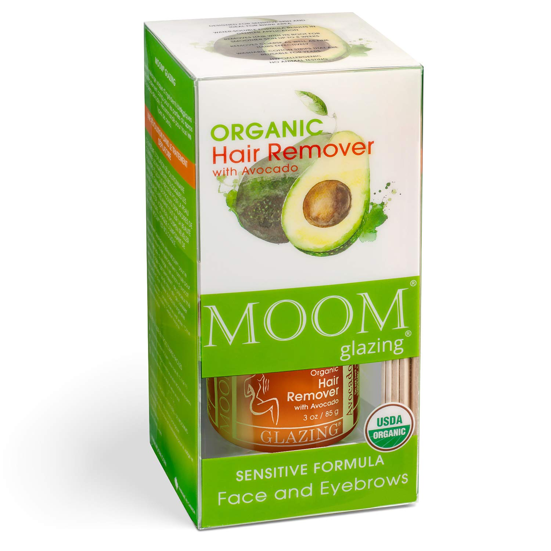 MOOM Organic Lip Face & Eyebrow Wax Kit - Natural Sugar Facial Hair Remover Glaze with Avocado Oil & Green Tea - 18 Waxing Strips & 6 Wooden Sticks for Application 3 oz. 1 Pack