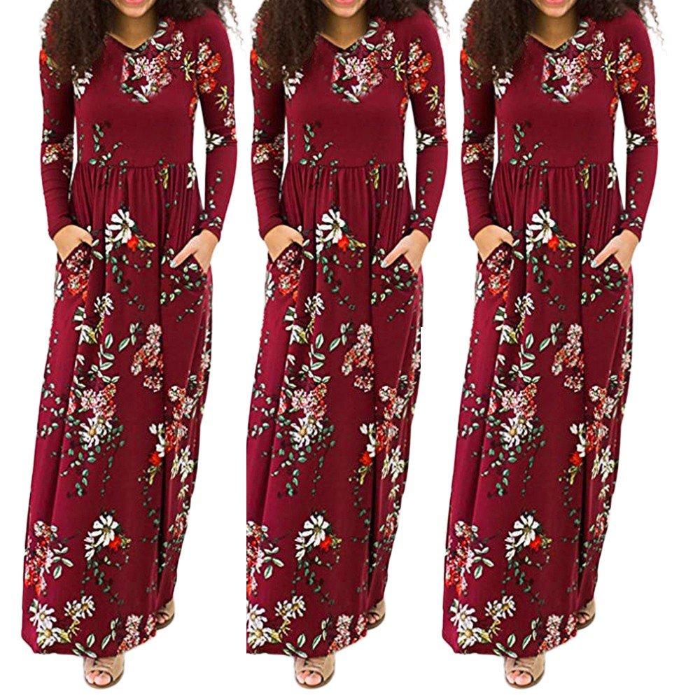 XJLUS-Apparel Dresses with Pockets for Women,Women'S Casual Floral Beach Dress Short Sleeve Long Stitching Beach Dress Blue Reds-XL