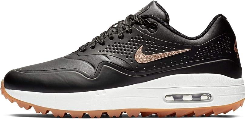 Amazon Com Nike Air Max 1 G Spikeless Golf Shoes 2019 Women Black Metallic Red Bronze Summit White Medium 8 Road Running