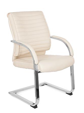 Freischwinger stühle leder weiss  Besucher-Stuhl Schwinger-Stuhl VISITER CL120 Kunst-Leder Creme-Weiß ...