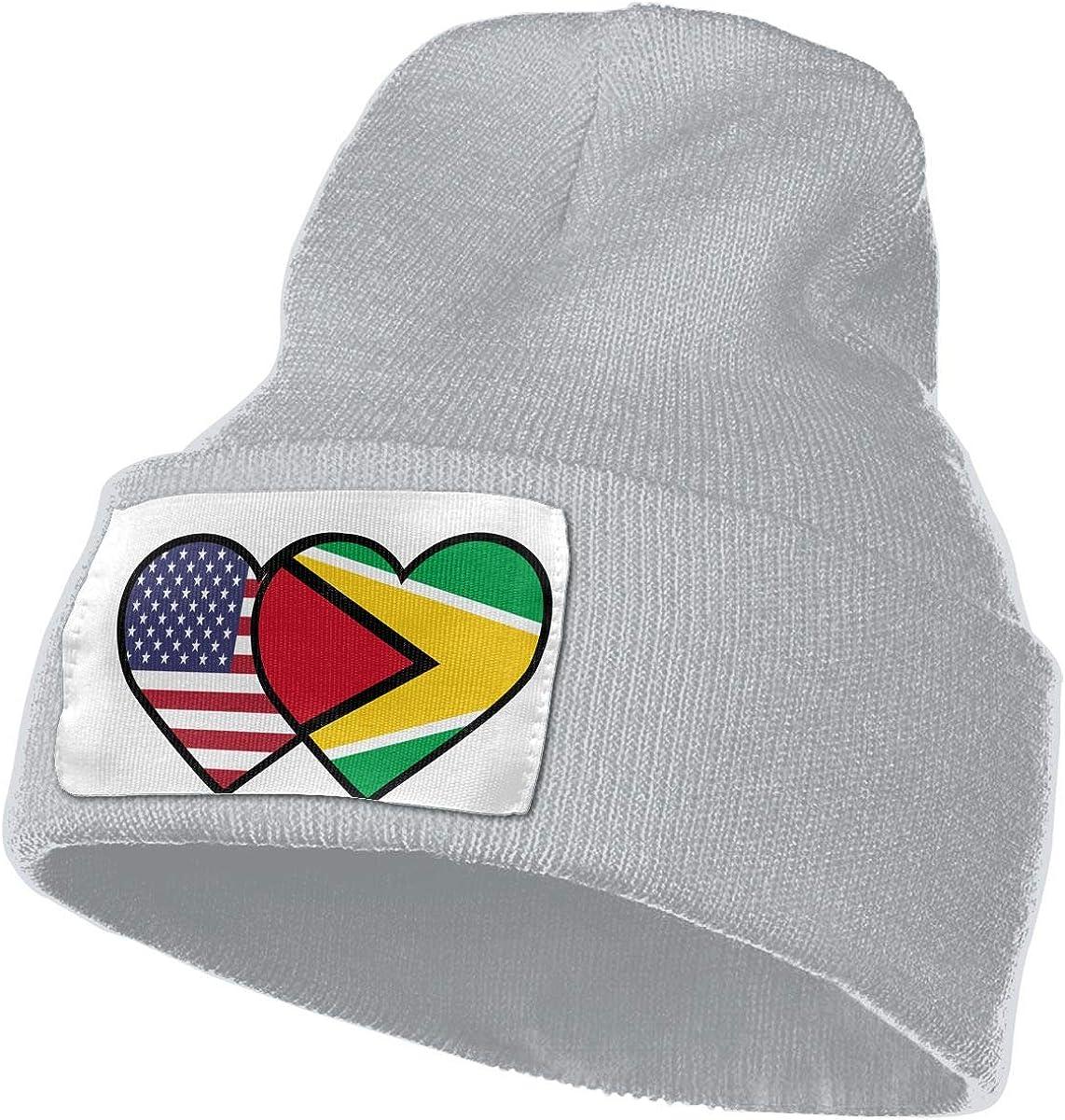 TAOMAP89 Guyana USA Flag Twin Heart Women and Men Skull Caps Winter Warm Stretchy Knitting Beanie Hats