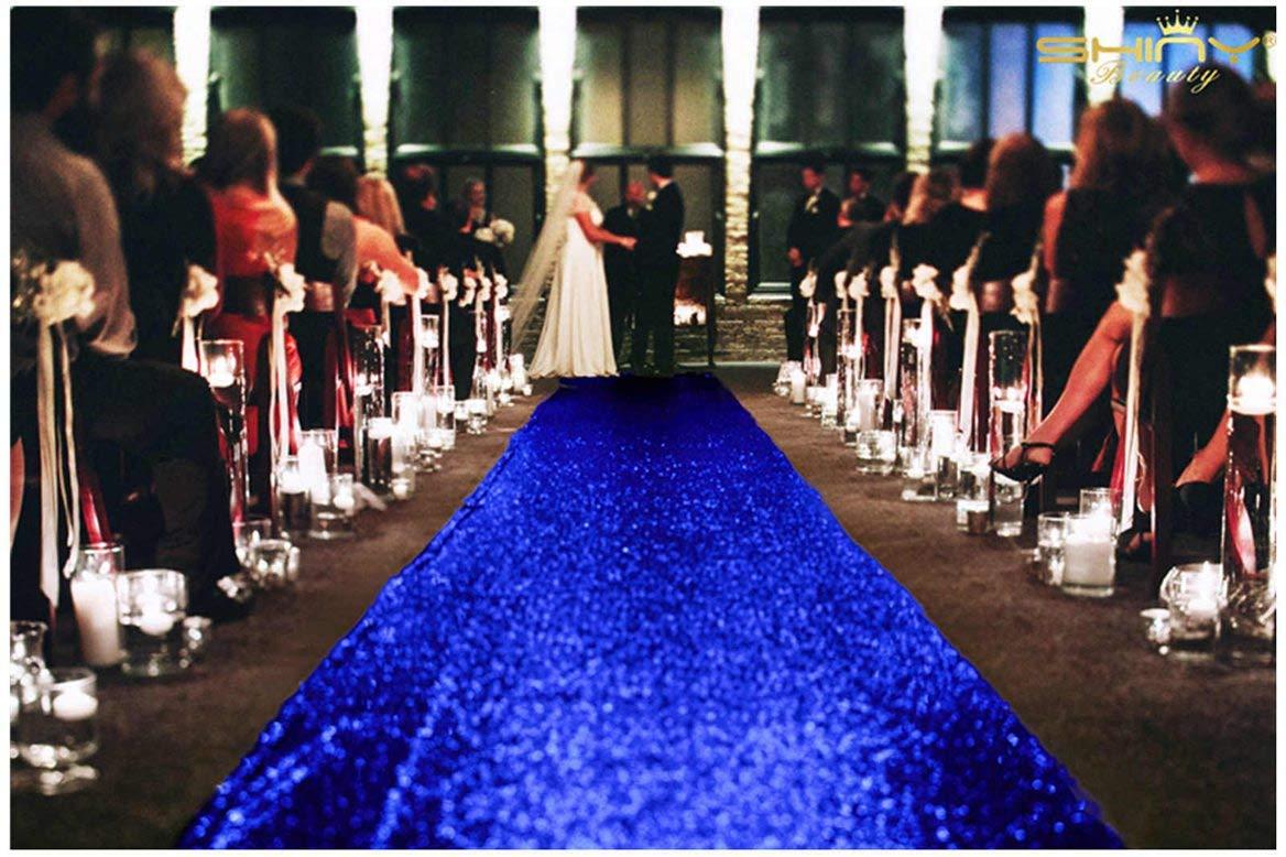 ShinyBeauty 3FTx15FT-Wedding Aisle Runner-Royal Blue,Glitter Sequin Aisle Runner for Wedding Ceremony Party/Children Party Decoration