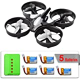 JJRC H36 Mini RC Quadcopter Drone with 5 Battery and Charger, Nano Drone Kit for Office RTF 2.4G 4CH 6 Axis with Headless Mode One Key Return, Mode 2 Remote Control UFO Drone for Kids (Black)