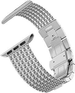 Wearlizer Silver Compatible with Apple Watch Band 38mm 40mm for iWatch Womens Mesh Loop Stainless Steel Replacement Metal Beauty Strap Wristband Dress Chain Bracelet Series SE 6 5 4 3 2 1 Sport