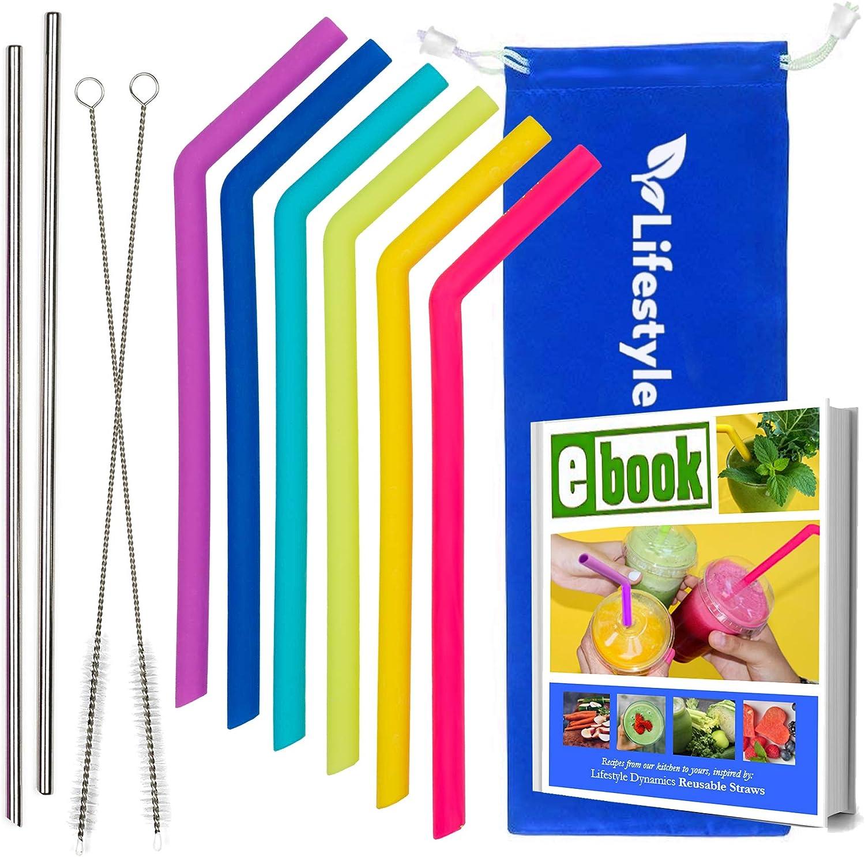 Thin Reusable Straws Silicone & Stainless Steel Straws – 6 Silicone Straws + 2 Metal Straws for Drinks – Top-Quality Dishwasher Safe, BPA Free Tumbler Straws, Smoothie Straws, Standard Diameter