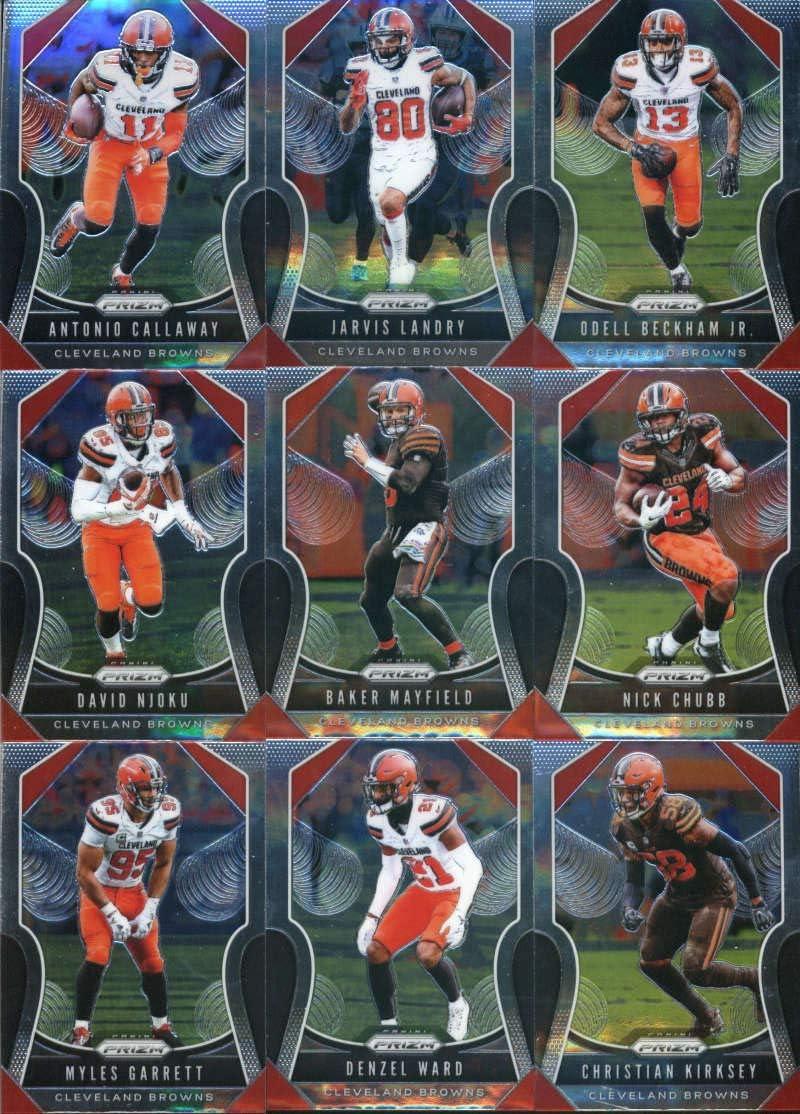 2019 Panini Prizm Football Cleveland Browns Veteran Team Set of 9 Cards: Antonio Callaway(#84), Jarvis Landry(#85), Odell Beckham Jr.(#86), David Njoku(#87), Baker Mayfield(#88), Nick Chubb(#89), Myles Garrett(#90), Denzel Ward(#91), Christian Kirksey(#92)